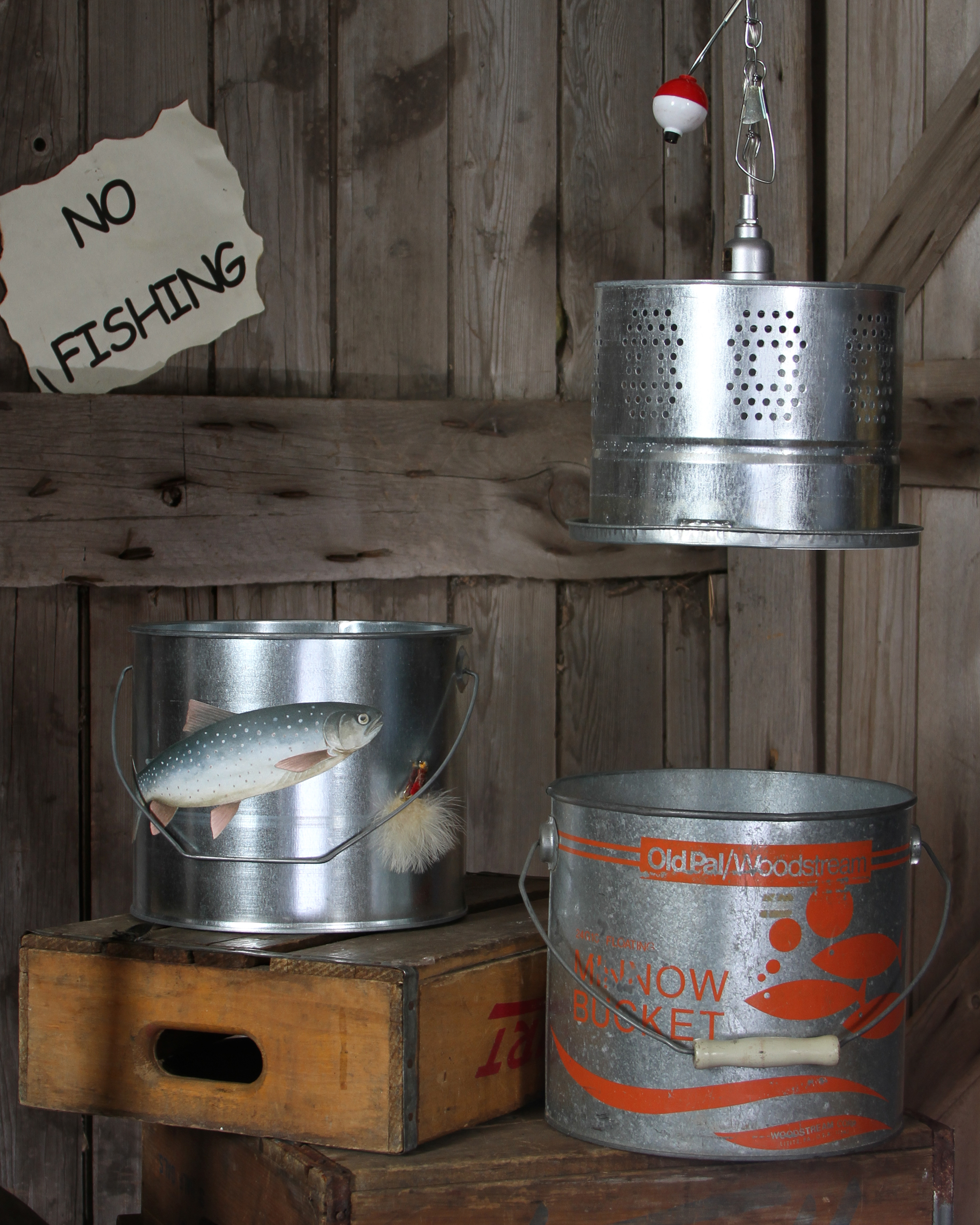 Fishing Buckets and Vintage Minnow Bucket Chandelier